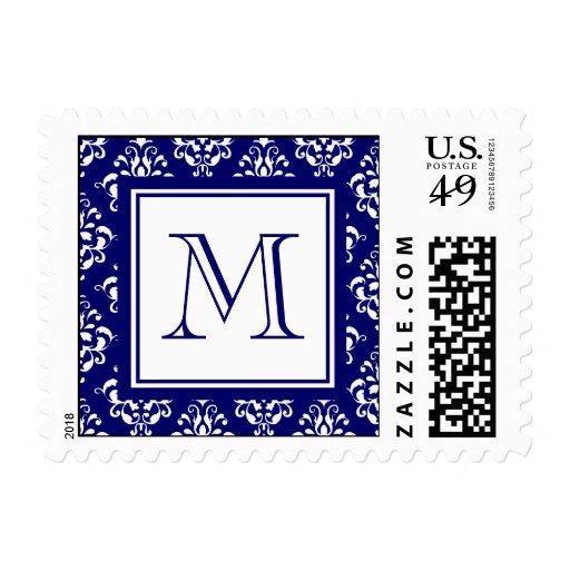 Modelo 1 del damasco de los azules marinos con el sello