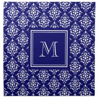 Modelo 1 del damasco de los azules marinos con el  servilleta imprimida