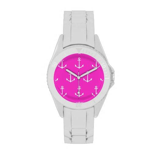 Modelo 1 del rosa fuerte y blanco de las anclas reloj