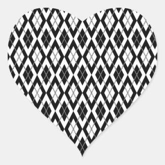 Modelo 2 de Argyle blanco y negro Pegatina En Forma De Corazón