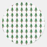Modelo 3 del árbol de navidad pegatina redonda