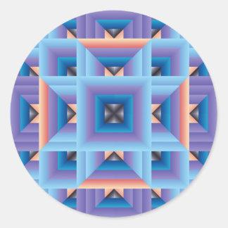Modelo 3 del edredón en azul y púrpura pegatina redonda