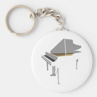 modelo 3D: Piano de cola blanco: Llavero Redondo Tipo Pin