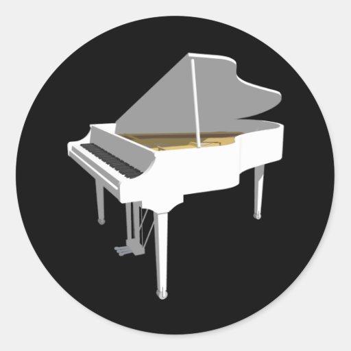 modelo 3D: Piano de cola blanco: Pegatina Redonda