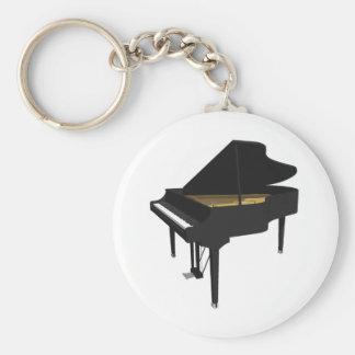 modelo 3D: Piano de cola negro: Llavero Redondo Tipo Pin