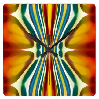 Modelo 6 de la furia del arte abstracto reloj cuadrado