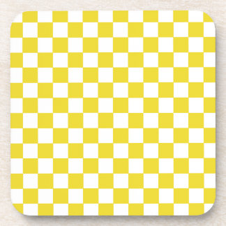 Modelo a cuadros amarillo posavasos de bebida