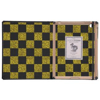 Modelo a cuadros amarillo y negro del brillo iPad carcasas