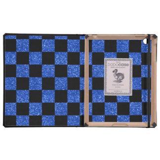 Modelo a cuadros azul y negro del brillo iPad fundas
