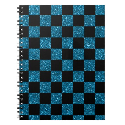 Modelo a cuadros azul y negro del brillo libreta