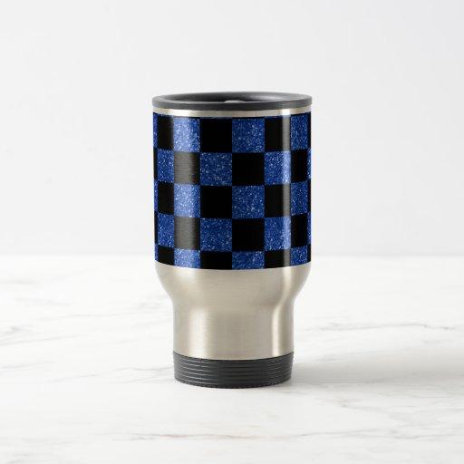 Modelo a cuadros azul y negro del brillo taza de viaje de acero inoxidable