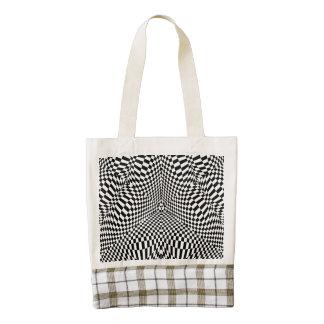 Modelo a cuadros blanco y negro abstracto bolsa tote zazzle HEART