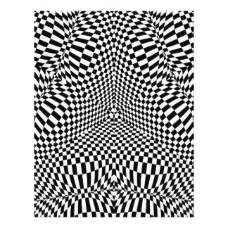 "Modelo a cuadros blanco y negro abstracto folleto 8.5"" x 11"""