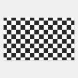 Modelo a cuadros blanco y negro rectangular altavoz