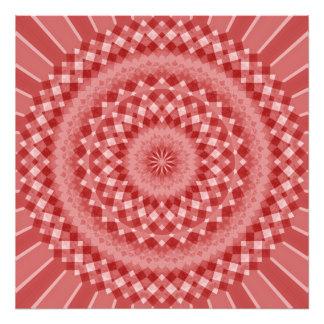 Modelo a cuadros circular - rojo y blanco cojinete