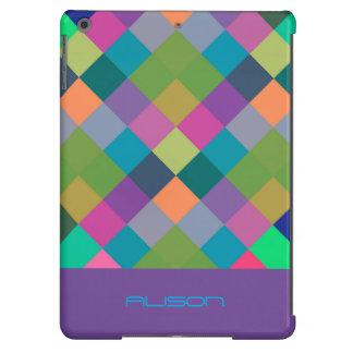 modelo a cuadros colorido con el lugar para el funda para iPad air