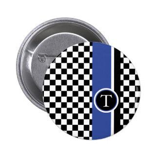 modelo a cuadros con la raya azul pin redondo de 2 pulgadas