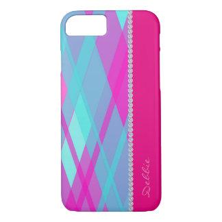 modelo a cuadros de la turquesa y del colorete con funda iPhone 7