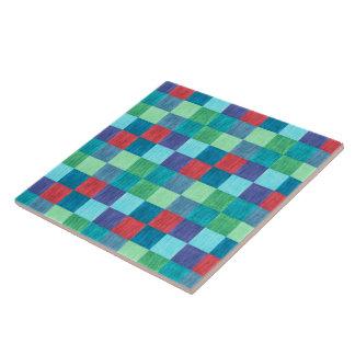 Modelo a cuadros de neón colorido azulejo cuadrado grande