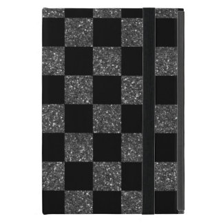 Modelo a cuadros del brillo del negro del brillo iPad mini fundas