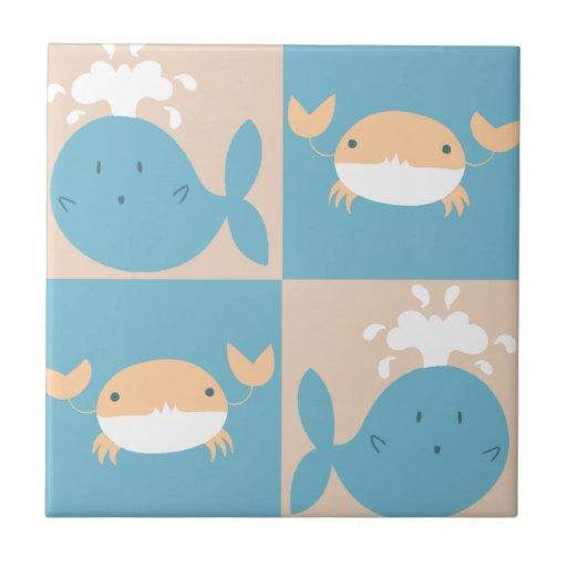 Modelo a cuadros del cangrejo de la ballena azulejo ceramica