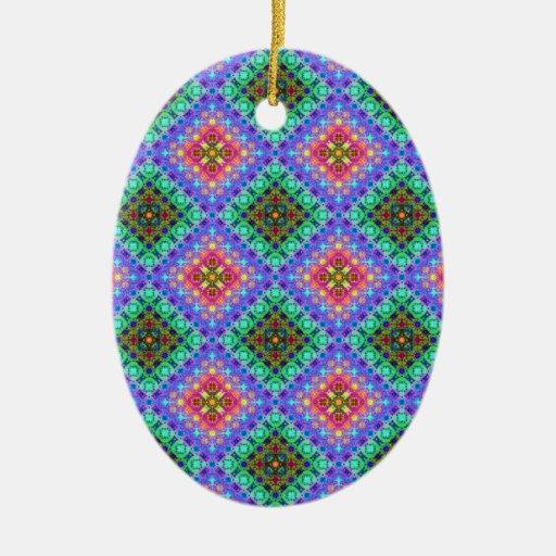 Modelo a cuadros del fractal del rosa y de la turq ornamento para arbol de navidad
