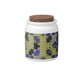 Modelo a cuadros en azul, amarillo, gris jarras para caramelos