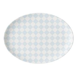 Modelo a cuadros en colores pastel del diamante badeja de porcelana