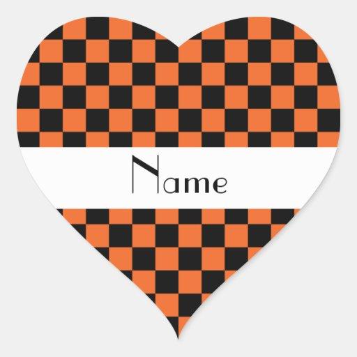 Modelo a cuadros en orange.png calcomanía de corazón