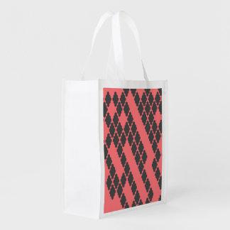 Modelo a cuadros negro rojo geométrico enrrollado bolsas para la compra