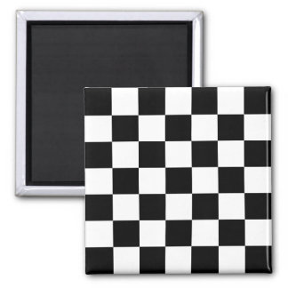 Modelo a cuadros negro y blanco imán cuadrado