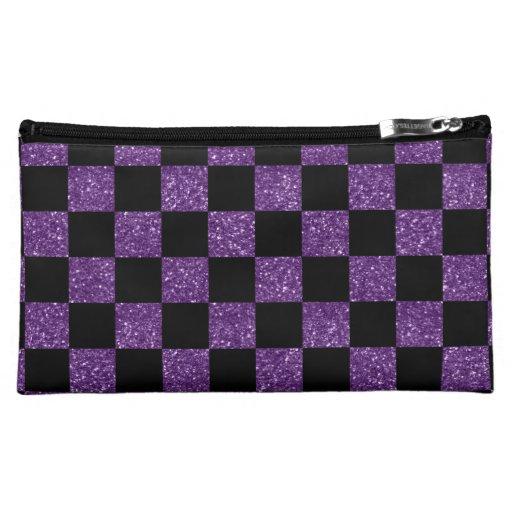 Modelo a cuadros púrpura y negro del brillo