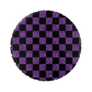 Modelo a cuadros púrpura y negro del brillo jarrones de dulces