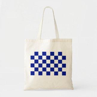 Modelo a cuadros real del azul y blanco bolsa tela barata