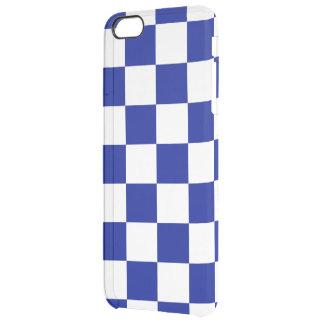 Modelo a cuadros real del azul y blanco funda clearly™ deflector para iPhone 6 plus de unc
