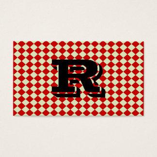 Modelo a cuadros rojo del monograma retro fresco tarjeta de negocios