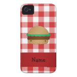 Modelo a cuadros rojo personalizado de la hamburgu Case-Mate iPhone 4 cárcasa