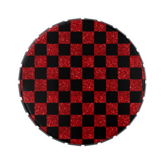 Modelo a cuadros rojo y negro del brillo latas de dulces