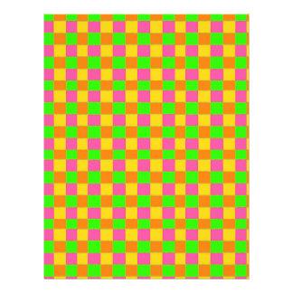 """Modelo a cuadros verde rosado de neón abstracto folleto 8.5"""" x 11"""""""