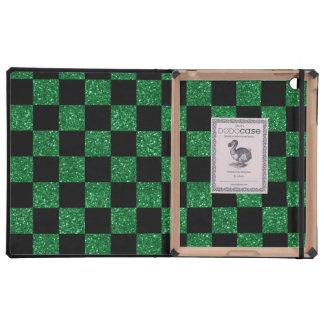 Modelo a cuadros verde y negro del brillo iPad funda