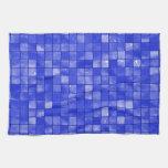 Modelo abigarrado de la teja del azul de cobalto toalla