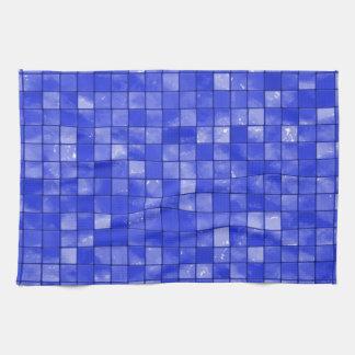 Modelo abigarrado de la teja del azul de cobalto toalla de mano