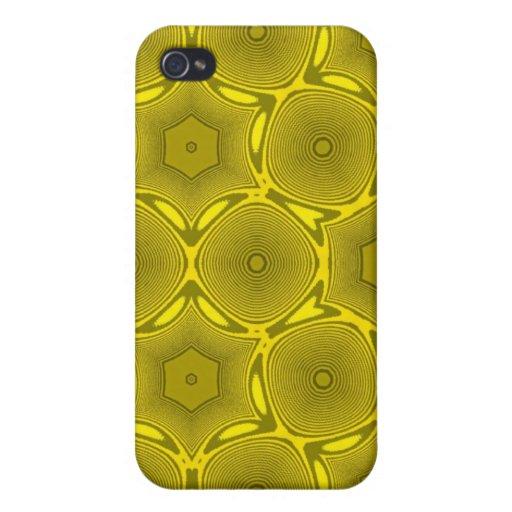 Modelo abstracto amarillo del círculo iPhone 4 funda