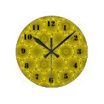 Modelo abstracto amarillo del círculo relojes de pared