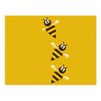 Modelo abstracto amarillo lindo de las abejas de l tarjeta postal