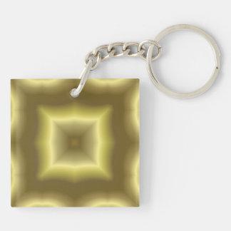 Modelo abstracto amarillo llavero cuadrado acrílico a doble cara