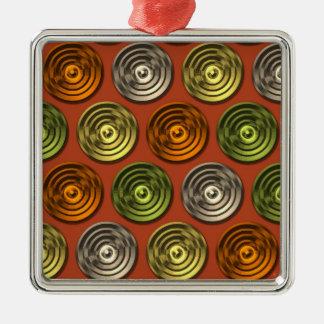 Modelo abstracto anaranjado enrrollado retro adorno cuadrado plateado