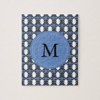 Modelo abstracto azul del escarabajo del monograma puzzle
