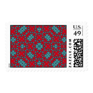 Modelo abstracto azul rojo sellos