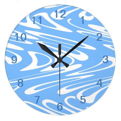 Modelo abstracto azul y blanco relojes de pared